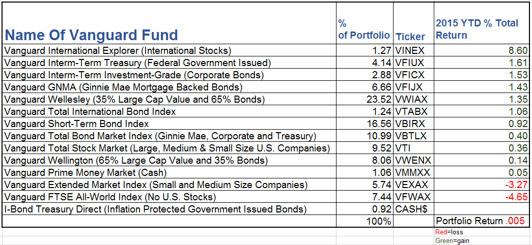 2015 Asset allocation individual fund return table
